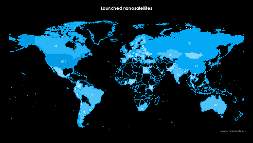 Nanosatellites on world map